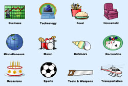 Clip art categories.
