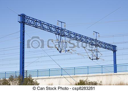 Stock Photography of AVE train catenary.