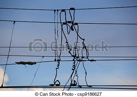 Picture of The beam catenary wires against the blue sky csp9186627.