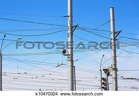 Stock Photo of Railroad railway catenary lines against clear blue.