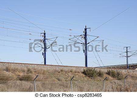 Stock Images of AVE train catenary.