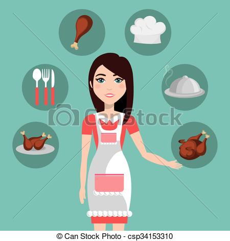 Vector Clip Art of catering service design.