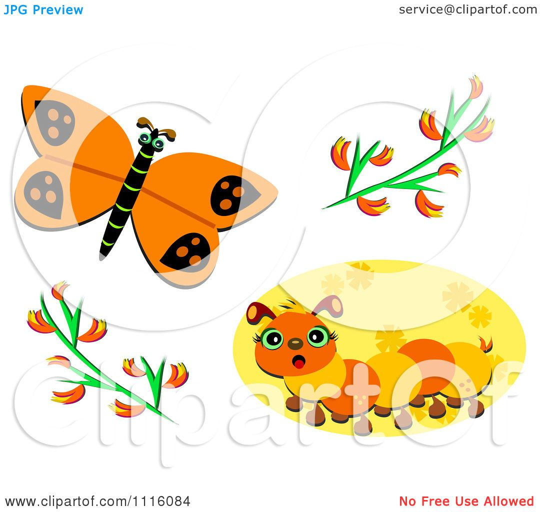 Clipart Orange Butterfly And Caterpillar With Flowers.