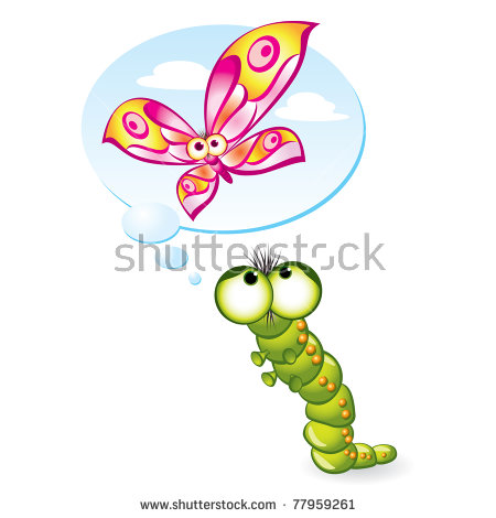 Caterpillar To Butterfly Stock Images, Royalty.