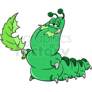 caterpillar eating leaf clipart. Royalty.
