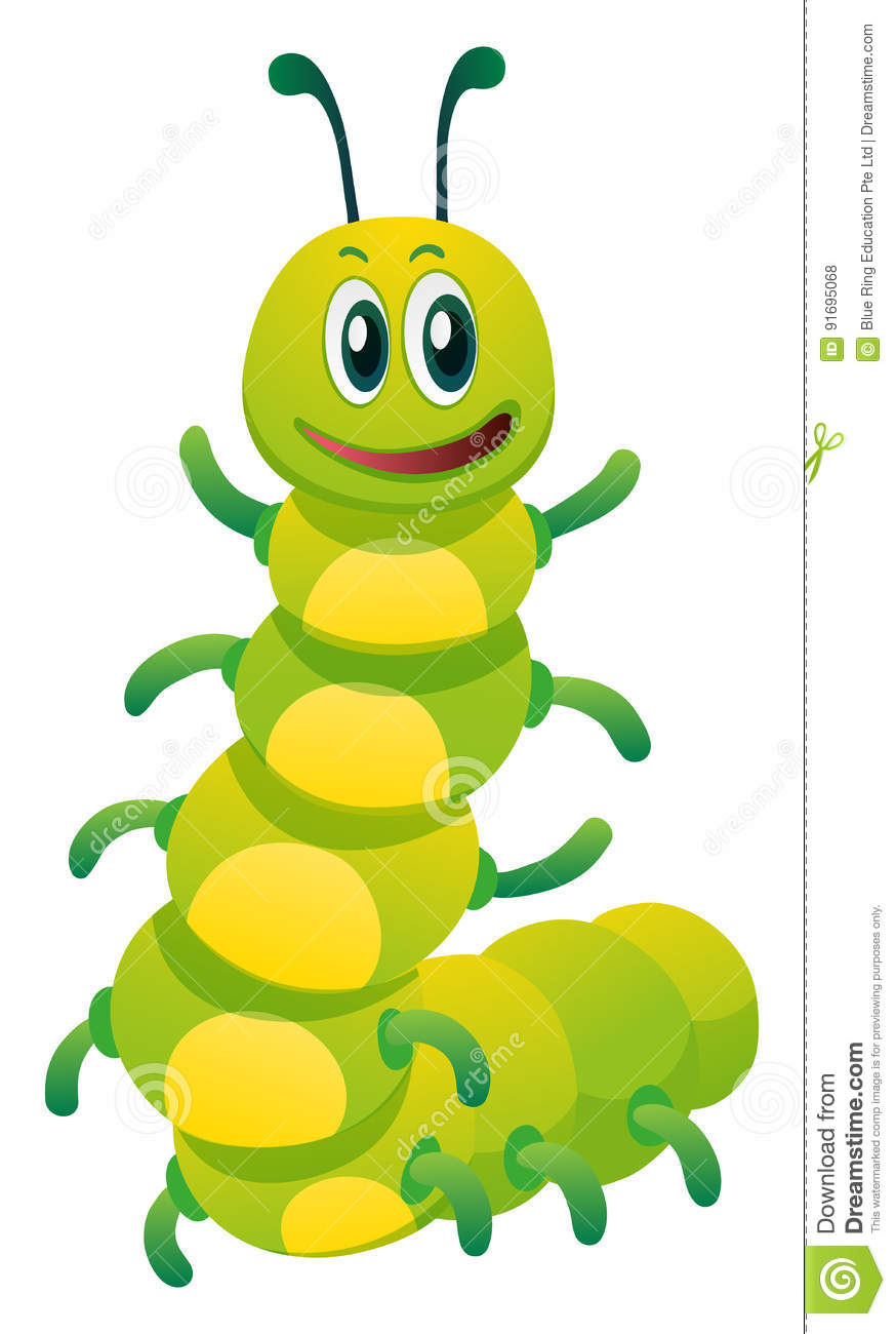 Caterpillar With Happy Face Stock Vector.
