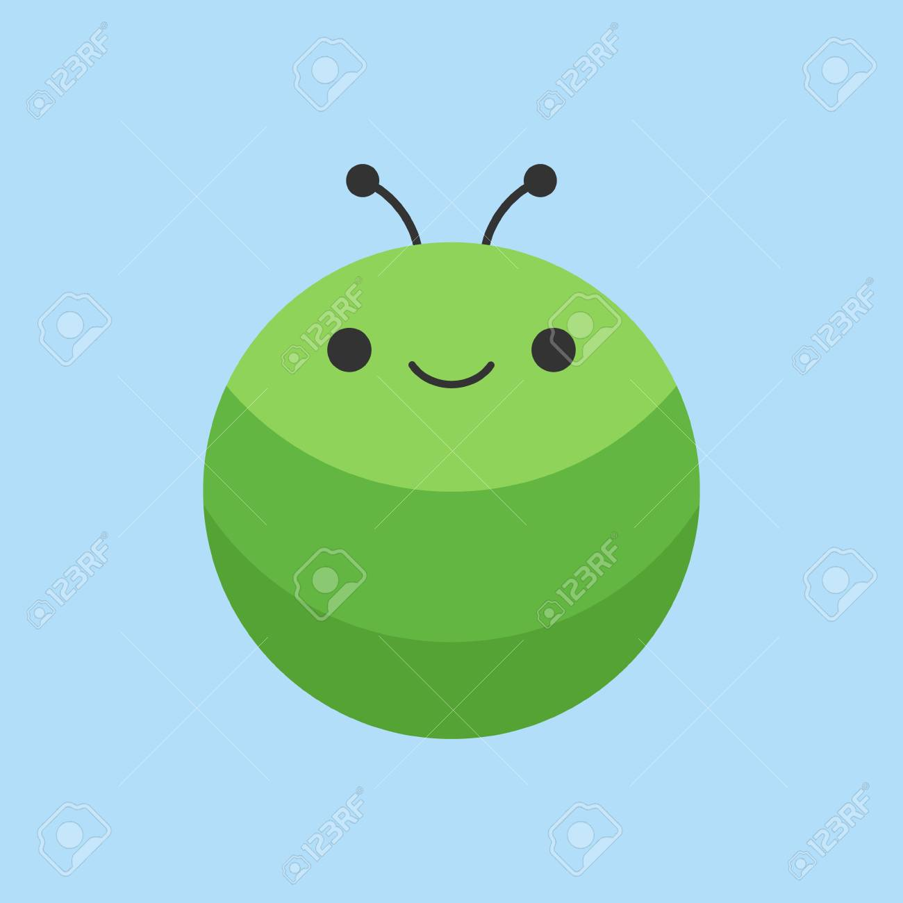 Cute caterpillar round vector graphic icon. Green larva insect...