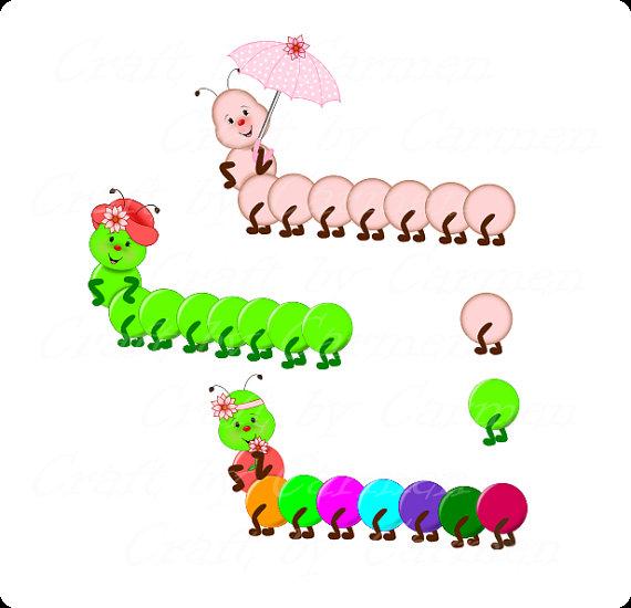 Caterpillar garden clip art cute bug graphic by CraftbyCarmen.