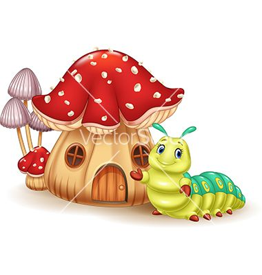 Beautiful mushroom house and cute caterpillar vector.