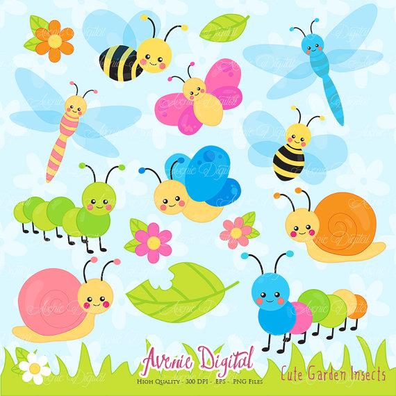 Cute Garden bugs Clipart. Scrapbook printable Insect Clip Art.