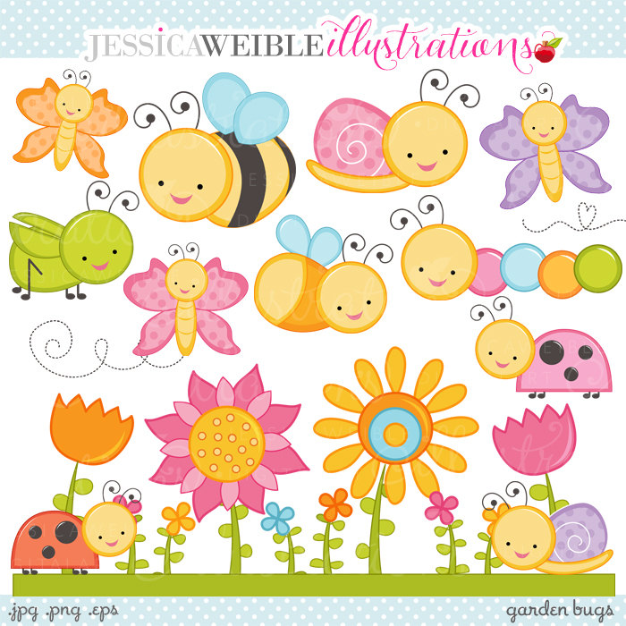 Garden Bugs Cute Digital Clipart Commercial by JWIllustrations.
