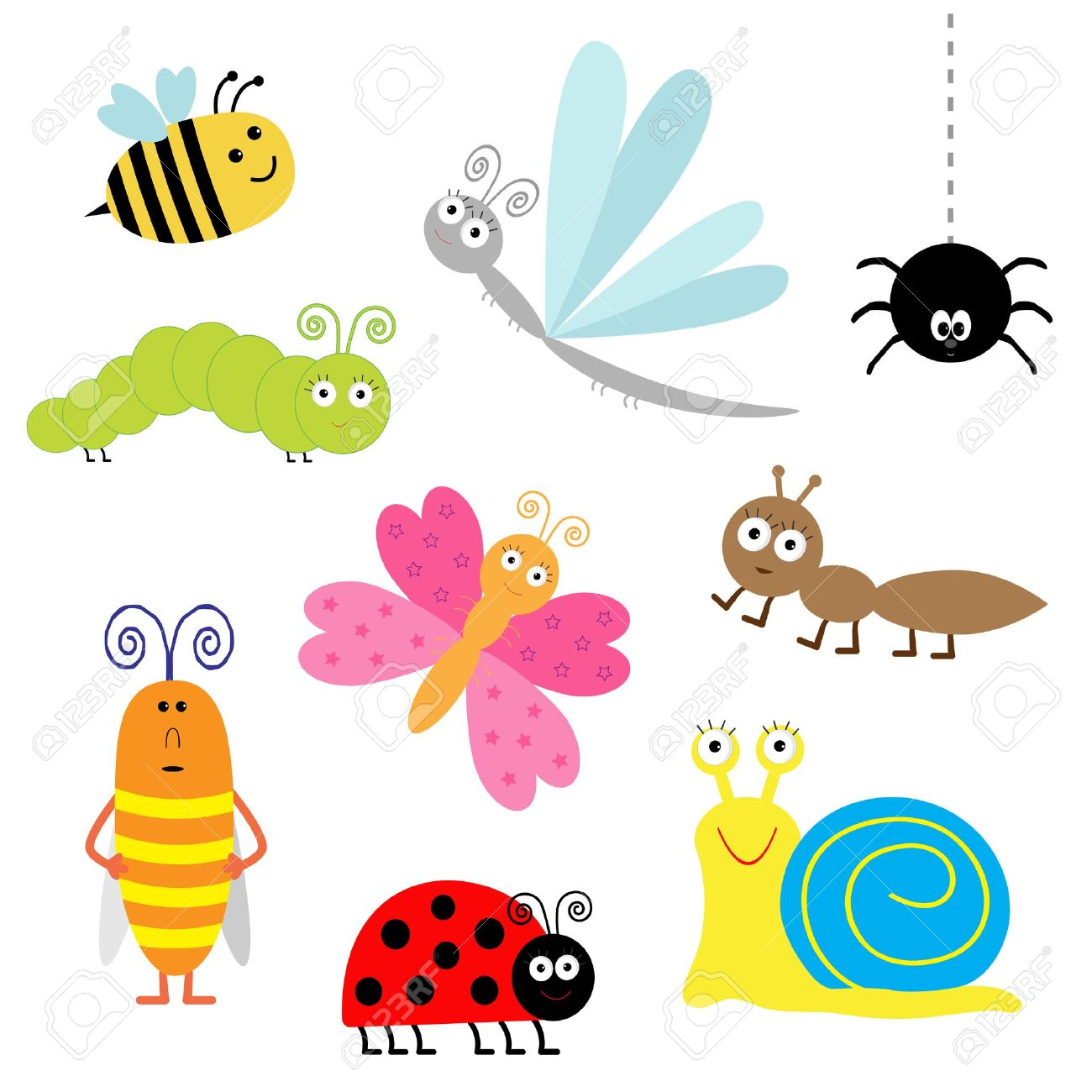 Cute Cartoon Insect Set. Ladybug, Dragonfly, Butterfly.