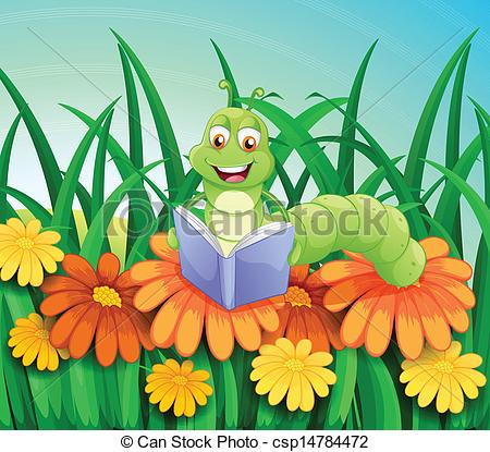 Reading caterpillar Clipart Vector Graphics. 77 Reading.