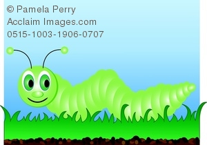 Clip Art Image of a Cartoon Caterpillar Crawling in the Grass.