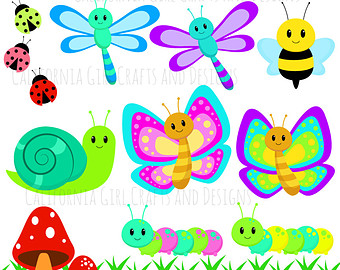 Clipart flowers bugs in grass.