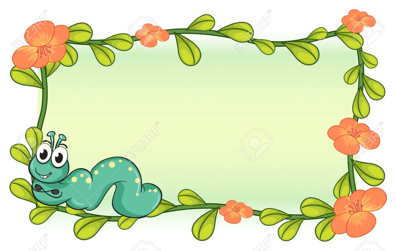 Illustration Of A Caterpillar And A Flower Plant Frame On A White.