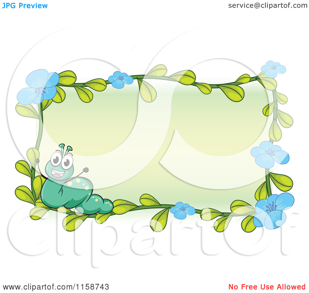 Clipart of a Caterpillar and Blue Flower Frame.