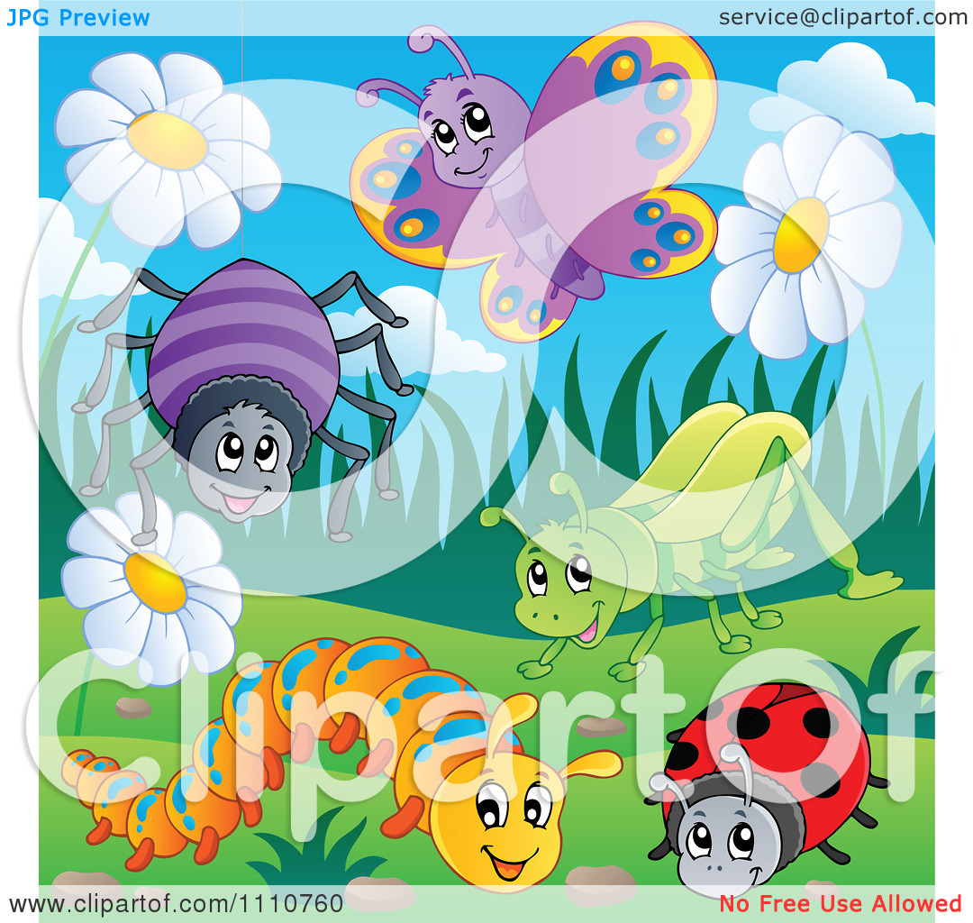 Clipart Happy Spider Butterfly Grasshopper Caterpillar And Ladybug.