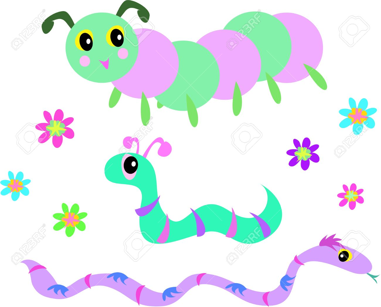 Mix Of Snakes, Worm, Caterpillar, And Flowers Royalty Free.