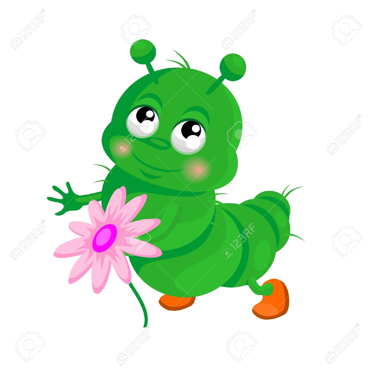 Happy Caterpillar With A Flower Royalty Free Cliparts, Vectors.