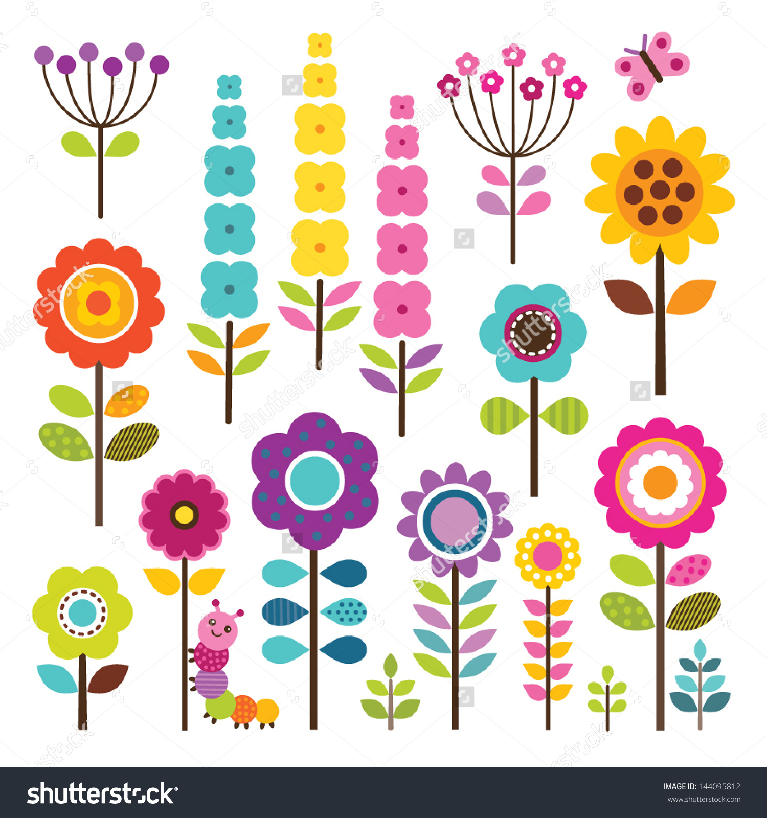 Set Retro Style Flowers Insects Bright Stock Vector 144095812.