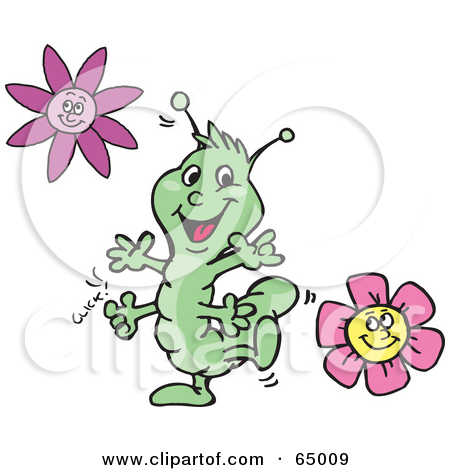 Clipart Illustration of a Scared Flower Cowing Under A Hungry.