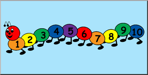 Clip Art: Counting Caterpillar Color 01 Labeled I abcteach.com.