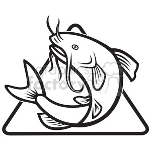 black and white catfish jump MP clipart. Royalty.