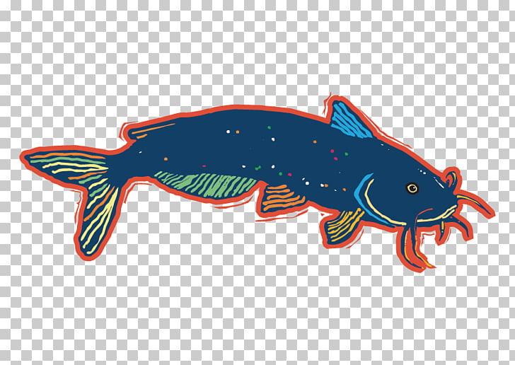Catfish Illustration, Dark blue fish PNG clipart.