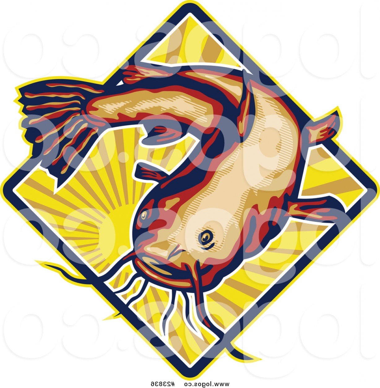 Royalty Free Vector Logo Of A Big Catfish Over A Sun With Rays By.