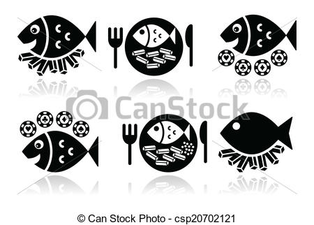 Catfish Food Clipart Black White.