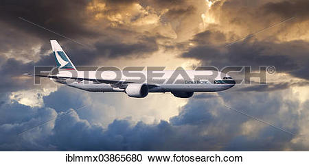 Stock Photography of Cathay Pacific Boeing 777.