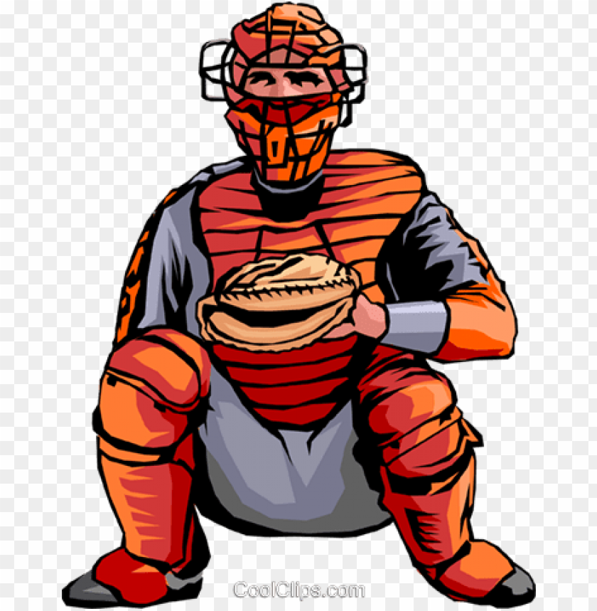 baseball catcher royalty free vector clip art illustration.