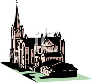 Old Castle Or Cathedral Clipart Image.