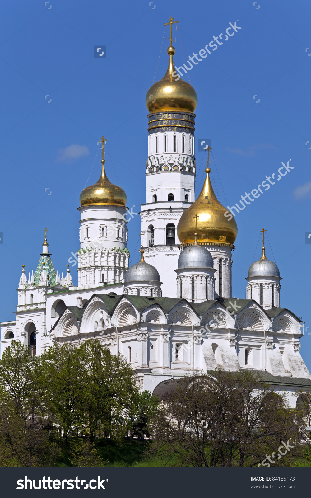 Archangel Cathedral And Ivan The Great Bell In The Moscow Kremlin.