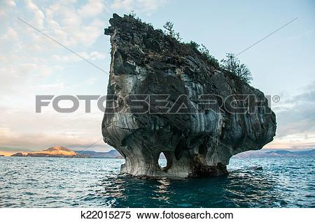 Stock Image of Marmol Cathedral rock formation, Carretera Austral.