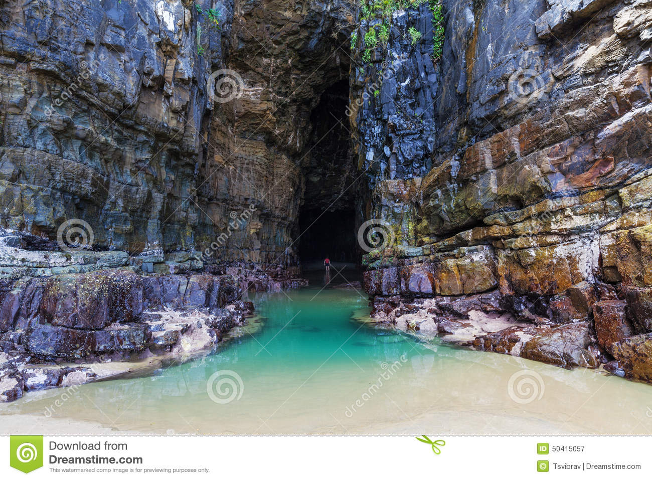 Cathedral Caves, Catlins, New Zealand Stock Photo.