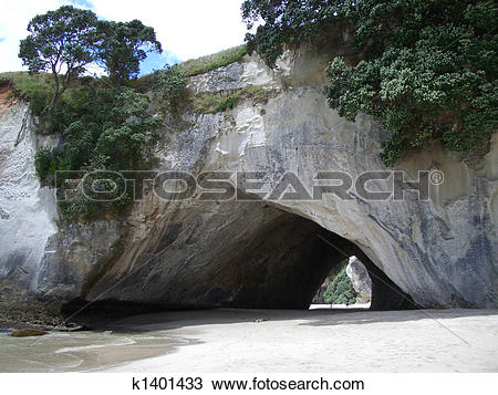 Stock Photo of Rock arch at Cathedral Cove and beach in the.
