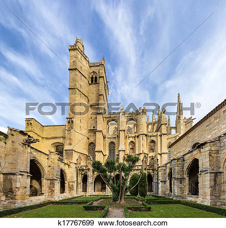 Stock Photograph of Inner court of Narbonne Cathedral.