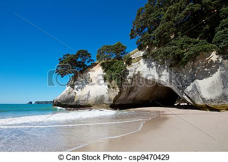 Stock Photographs of Cathedral Cove marine reserve on the.