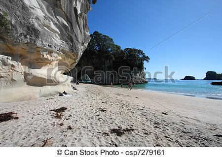 Stock Photography of Cathedral Cove.