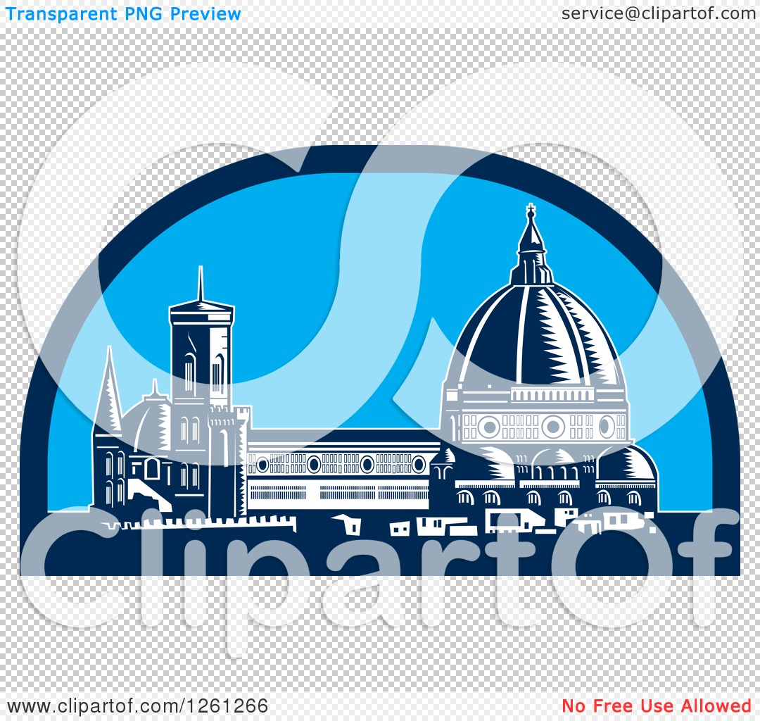 Clipart of a Woodcut Scene of the Dome of Florence Cathedral or Il.