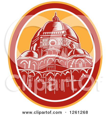 Clipart of a Retro Woodcut Scene of the Dome of Florence Cathedral.
