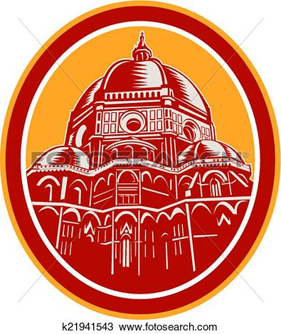 Clipart of Dome of Florence Cathedral Front Woodcut k21941543.