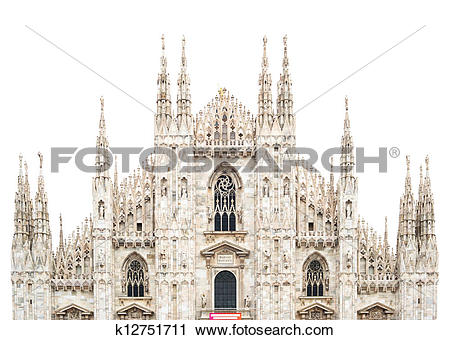 Stock Photography of Milan Gothic Cathedral Dome Landmark upper.