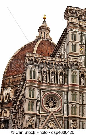 Stock Photography of Florence cathedral dome closeup over white.