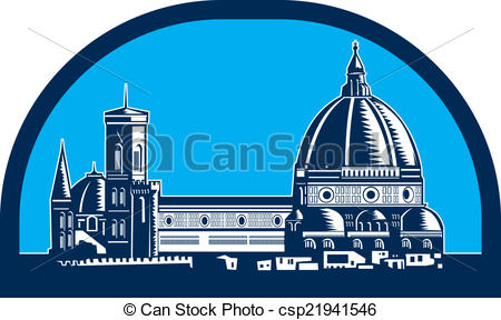 EPS Vector of Dome of Florence Cathedral Retro Woodcut.