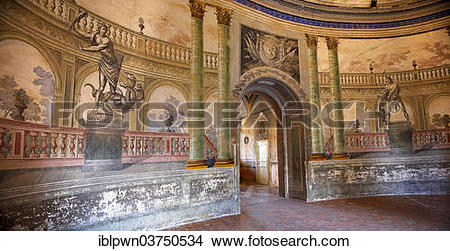 "Stock Photo of ""Hallway entrance of the baroque Villa Palagonia."