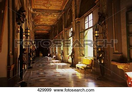 Stock Photograph of Interiors of palace hallway, Valletta, Malta.