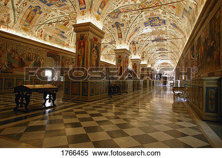 Stock Image of Hallway of Library at The Vatican Museum Vatican.